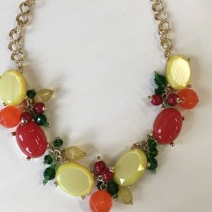 Citrus and Gold Statement Necklace Talbots